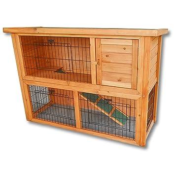 Conejera 2 niveles caseta roedores corredor libre animales pequeños jardín: Amazon.es: Productos para mascotas