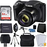 """Canon PowerShot SX420 20 MP Digital Camera (Black) + 64GB SDHC Memory Card + Deluxe Carrying Case + Extra Battery + 50"""" Quality Tripod + Hand Grip + Cleaning Kit + Complete Accessories"""