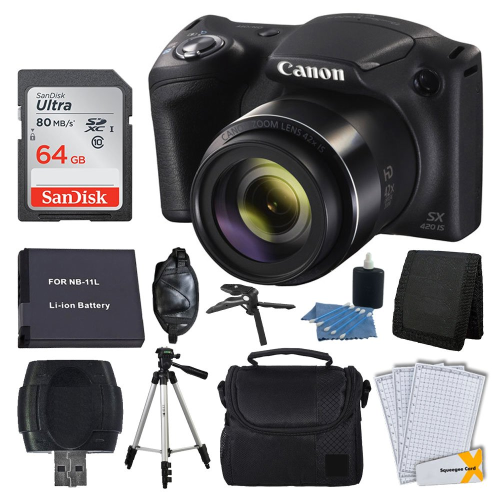Canon PowerShot SX420 20 MP Digital Camera (Black) + 64GB SDHC Memory Card + Deluxe Carrying Case + Extra Battery + 50'' Quality Tripod + Hand Grip + Cleaning Kit + Complete Accessories by Canon