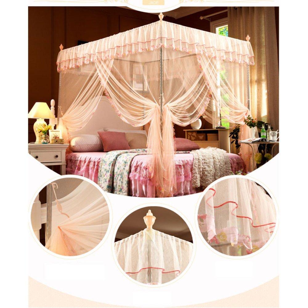 LUSTAR Moustiquaire De Lit Canopy Polyester pour La Maison Fly Insect Protection 1.2 M /à 2 M Lit Int/érieur D/écoratif Trois Portes,Yellow-2m ZX