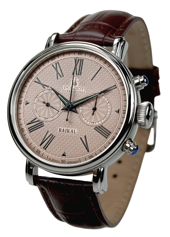 Poljot Int. Chronograph Baikal Mechanische Russische Uhr Herren Lederband Braun