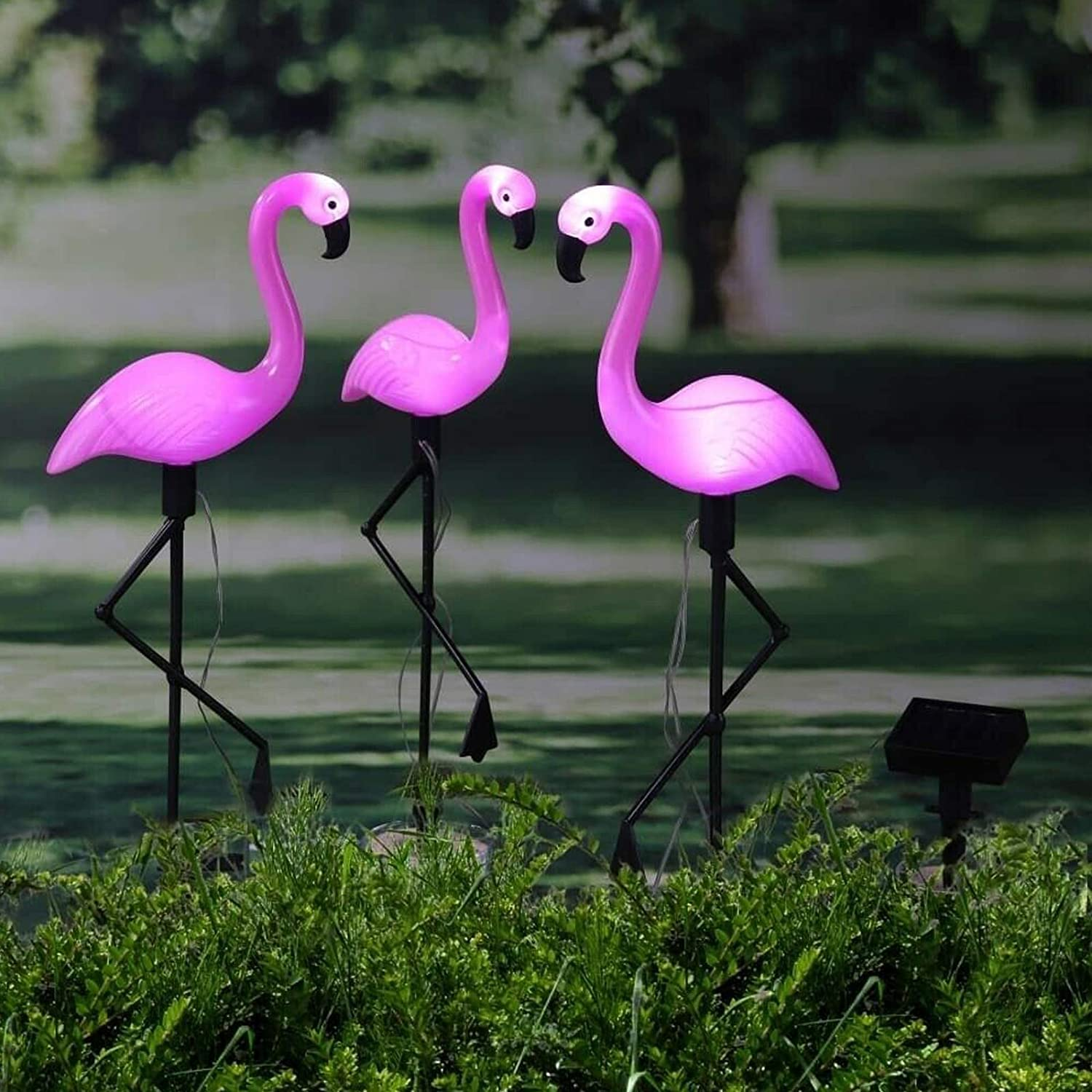 Pink 3 Pack Flamingo Garden Led Stake Lamps Solar Powered Waterproof Home Pathway Lawn Yard Landscape Path Decorative Night Light puliao Outdoor Solar Lights