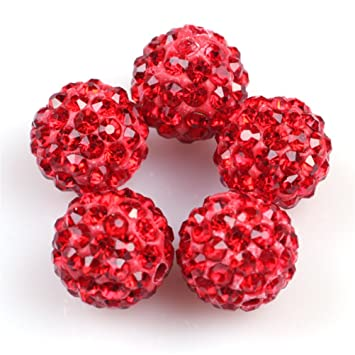 GEM-inside Lots Of 10MM Pave Shine Red Beads For Jewelry Making (10 Beads 8cd60c7f3c7d