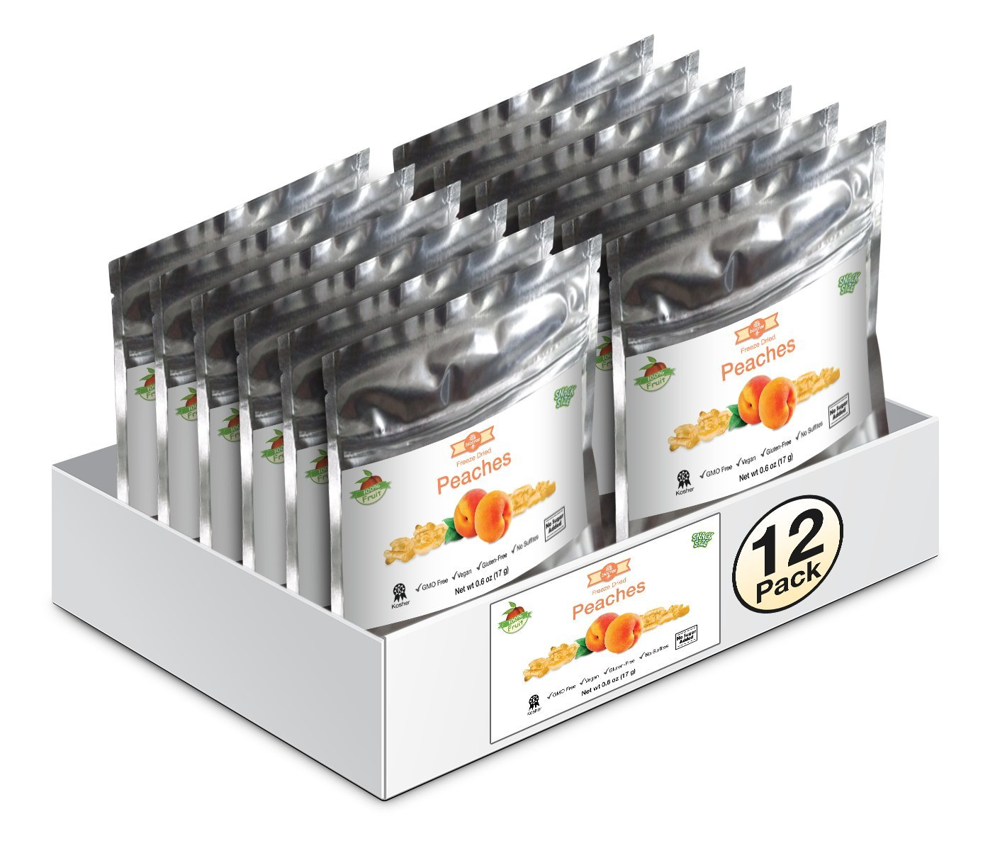 12 Pack of Snack Size Delicious Peaches - All Natural 100% Freeze Dried Peaches: No Added Sugar or Preservatives, Paleo, Gluten-Free. Healthy Snack for Children & Adults (0.4 Oz)