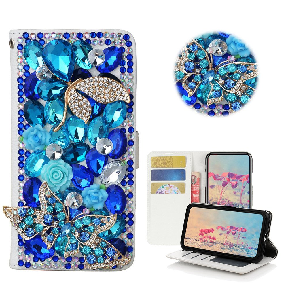 STENES LG Stylo 3 Case, LG Stylo 3 Plus Case - Stylish - 3D Handmade Bling Crystal Pretty Butterfly Flowers Wallet Credit Card Slots Fold Media Stand Leather Cover Case - Blue