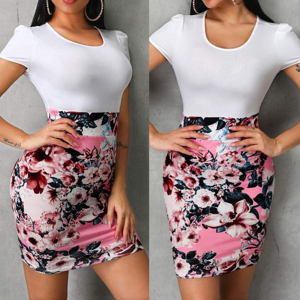 Lotus.Flower Women O-Neck Short Sleeve Floral Print Patchwork Bodycon Mini Dress