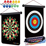TriMagic Magnetic Dart Board with 12 Safety Darts and Portable Bag - Best Birthday Gift Toys for 5 6 7 8 9 10 12 Year Old Bo