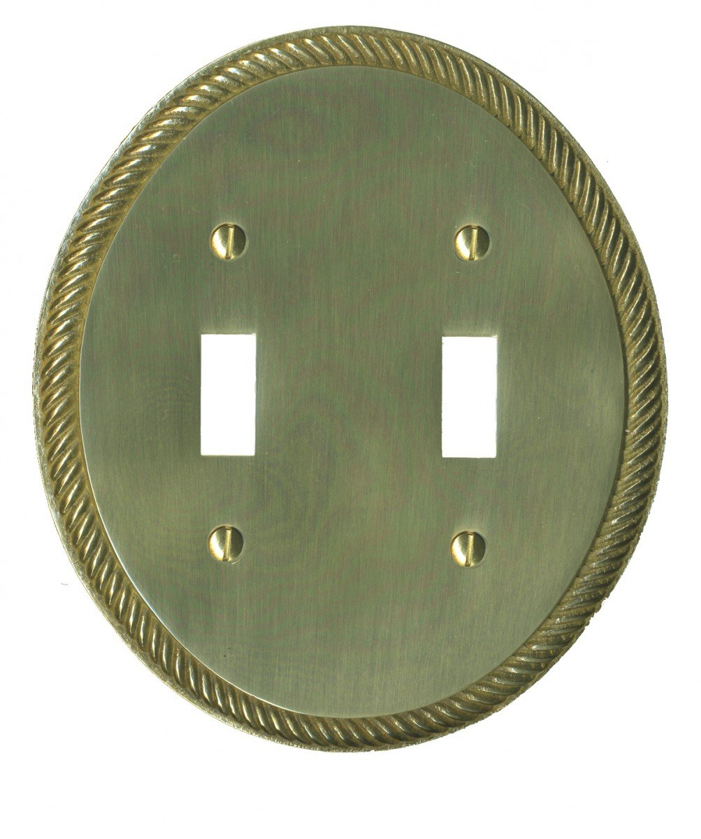 Switchplates Solid Brass Oval Braided Doubl Toggle Switch Plate