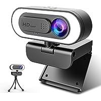 ZZCP Webcam con Micrófono y Luz, Camara Web 1080P HD con Cover y Tripie, Web CAM Plug and Play 2.0/3.0 para PC/Laptop…