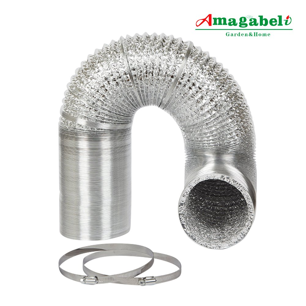 4in Aluminum Foil Duct Hose Grow Tent Room Ventilation Cooling System 8ft Flex Air Intake Helix Pipe Exhaust Inline Fan Filter CFM Flexible Clothes Dryer Vent with 2 Tension Hose Clamps HAVC Heat Duct