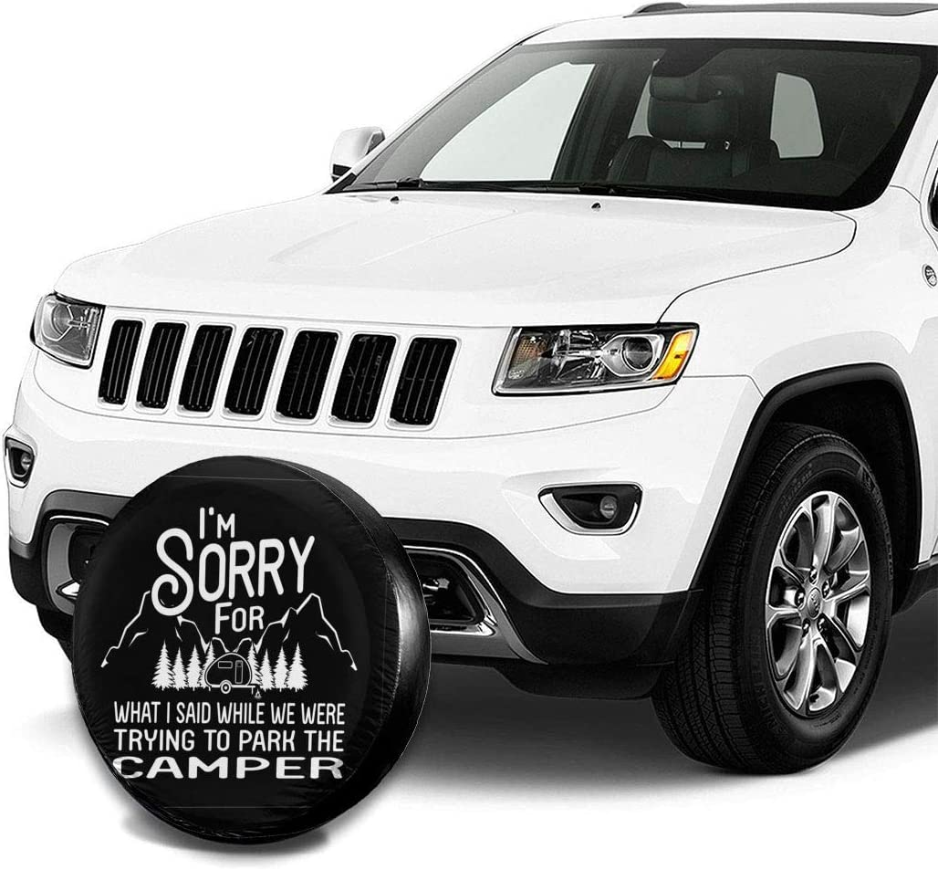 POKLJIH Spare Tire Cover Happy Camper Polyester Universal Dust-Proof Corrosion Protection Wheel Covers for Jeep Trailer RV SUV Truck Camper Travel Trailer Accessories 14,15,16,17 Inch