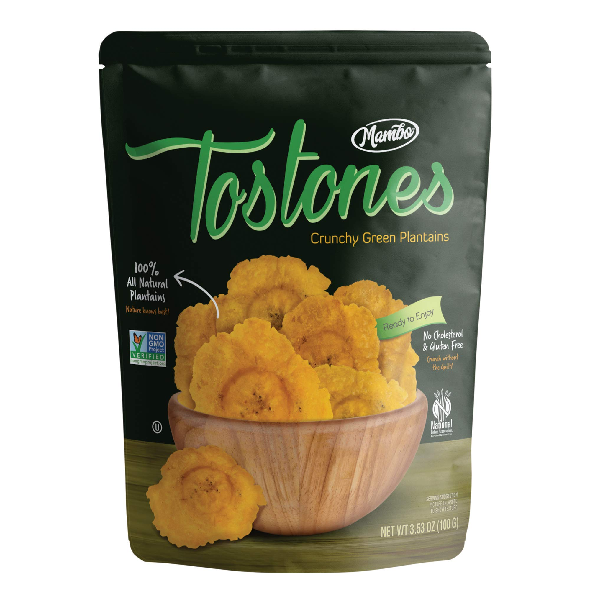 Mambo Tostones, All-Natural Green Plantains Tostones, 3.53 oz unit, 12 bags per box, Plantain Chips, Tostones Chips, Gluten-Free, Only Three Ingredients Tostones