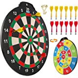 Esjay 18 inch Magnetic Dart Board Set, Safe Dart Game for Kids, Best Boy Toys Gift Indoor Outdoor Game with 12 Darts, Double
