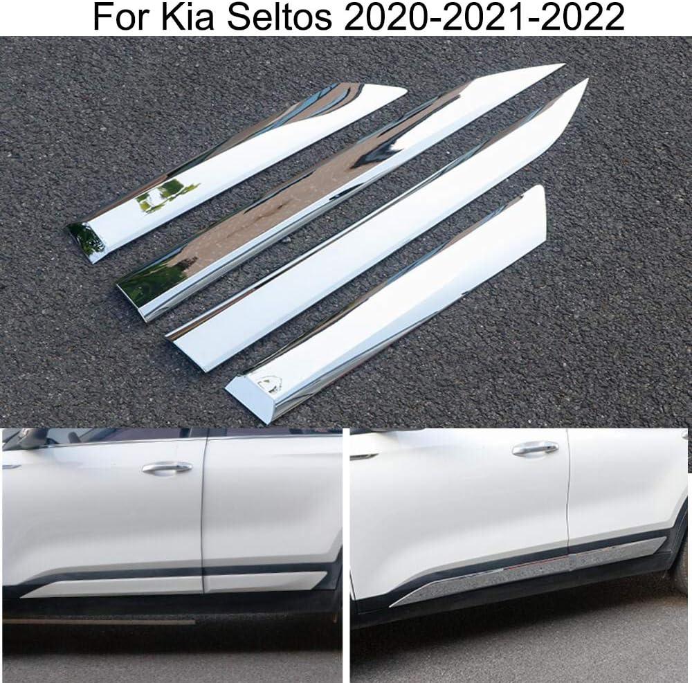Steel 4 Pcs Fits Kia Sportage 2018-2021 Chrome Side Body Door Streamer Guard S