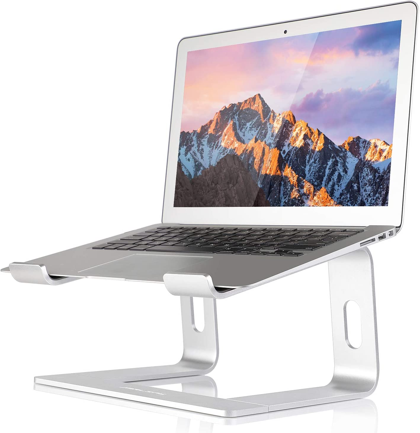 JARLINK Aluminum Laptop Stand, Ergonomic Detachable Laptop Holder Riser Compatible with MacBook Air Pro/Dell XPS/HP/Lenovo (up to 15.6 inches), Silver