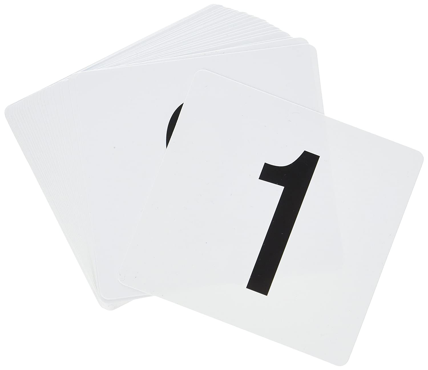New Star Foodservice 23114 Double Side Plastic Table Numbers 1 to 25, 4 by 4-Inch, Black on White