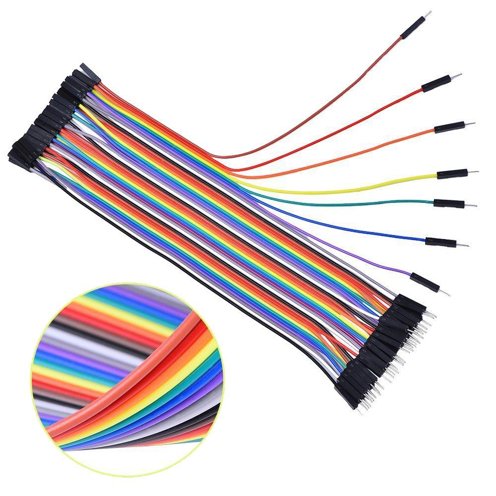 Boladge 20CM M/âle /à M/âle Cavalier C/âble Ruban Arduino 1P-1P Pin en-t/ête 40 Broches pour Arduino Breadboard