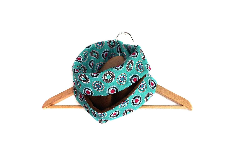 Écharpe snood col polaire marron et tissu turquoise coton imprimé réversible graphique bleu ronds et cercles écharpe tube ski moto cadeau handmade fait main cousu main made in france hiver froid
