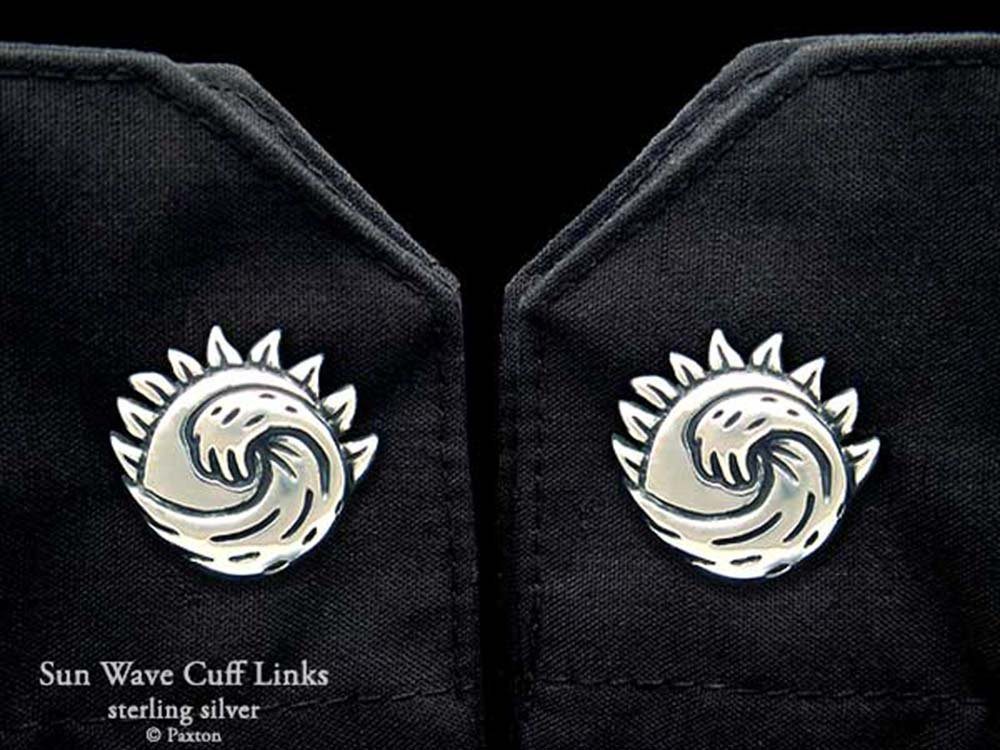 Sun Wave Cuff Links in Solid Sterling Silver Hand Carved & Cast by Paxton