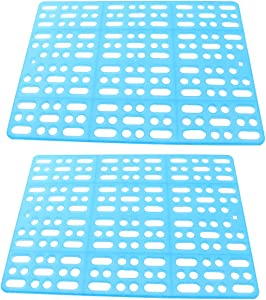 LQ Industrial Rabbit Mat for Cages 2PCS Blue Plastic Health Easy Clean Resting Mats Small Pet Hollow Feet Pads with 4PCS Fixed Tabs for Rabbit Bed Guinea Pig Hamster