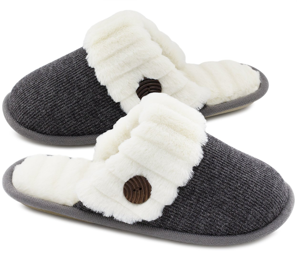 HomeTop Women's Cute Fuzzy Knitted Memory Foam Indoor House Slippers for Families Couples (39-40 (US Women's 9-10; Men's 7-8), Dark Gray)