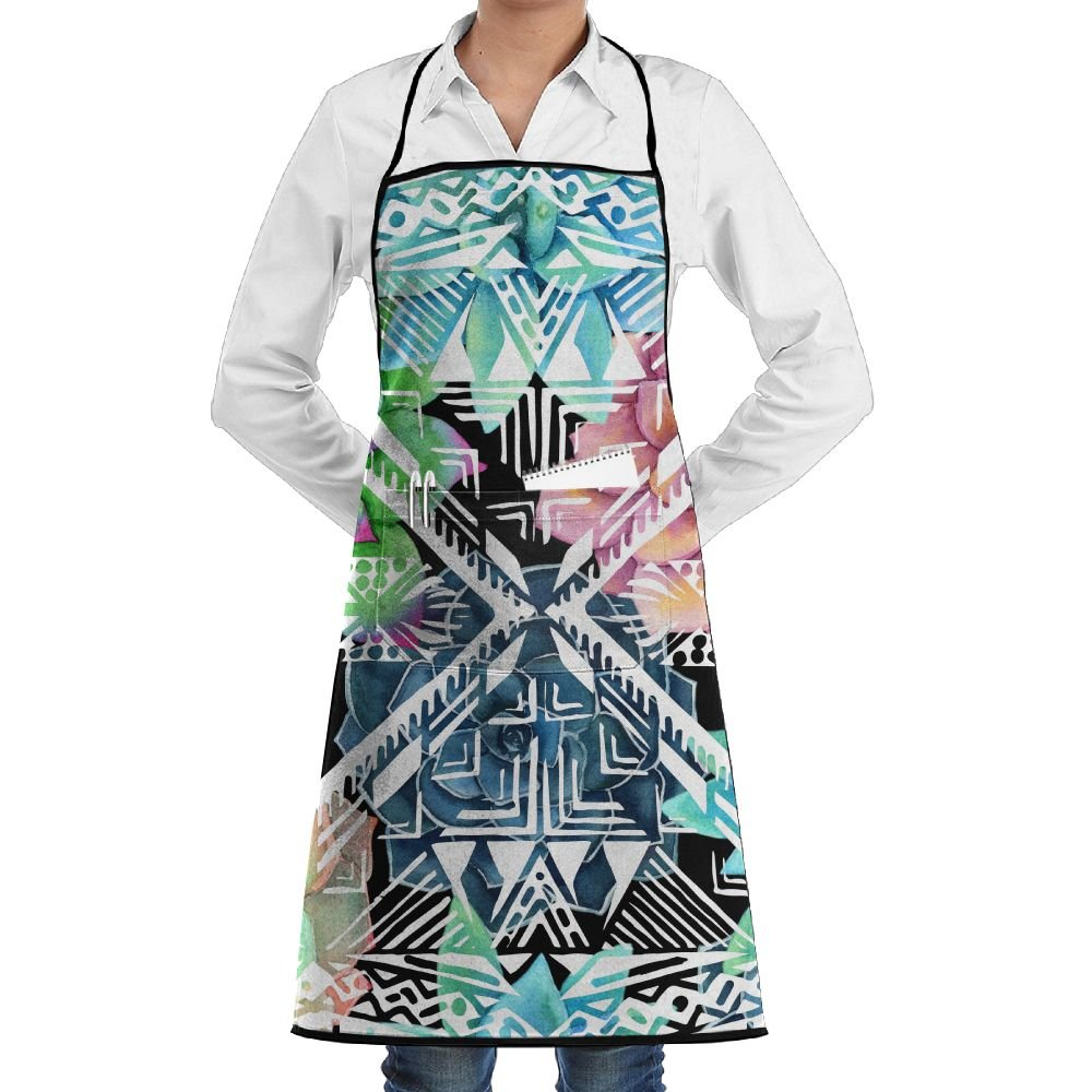Polyester Kitchen Apron Cooking Baking Garden Chef Apron Bib With Pocket For Women Succulents