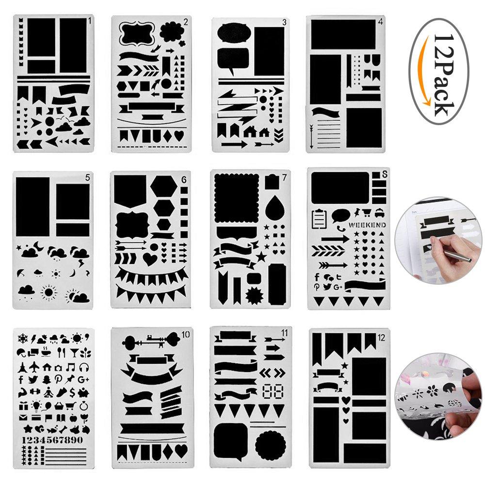 Pawaca set da 20pezzi di stencil in plastica per diari/blocnotes/libro di ritagli/progetti creativi/calendario/ libro fai da te con modelli di disegni, 10,2x 17,8cm., 12 Pack, 12Pack 2x 17 8cm.