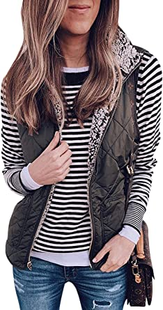 NQ Womens Casual Warm Flannel Lined Cardigan Vest Jacket