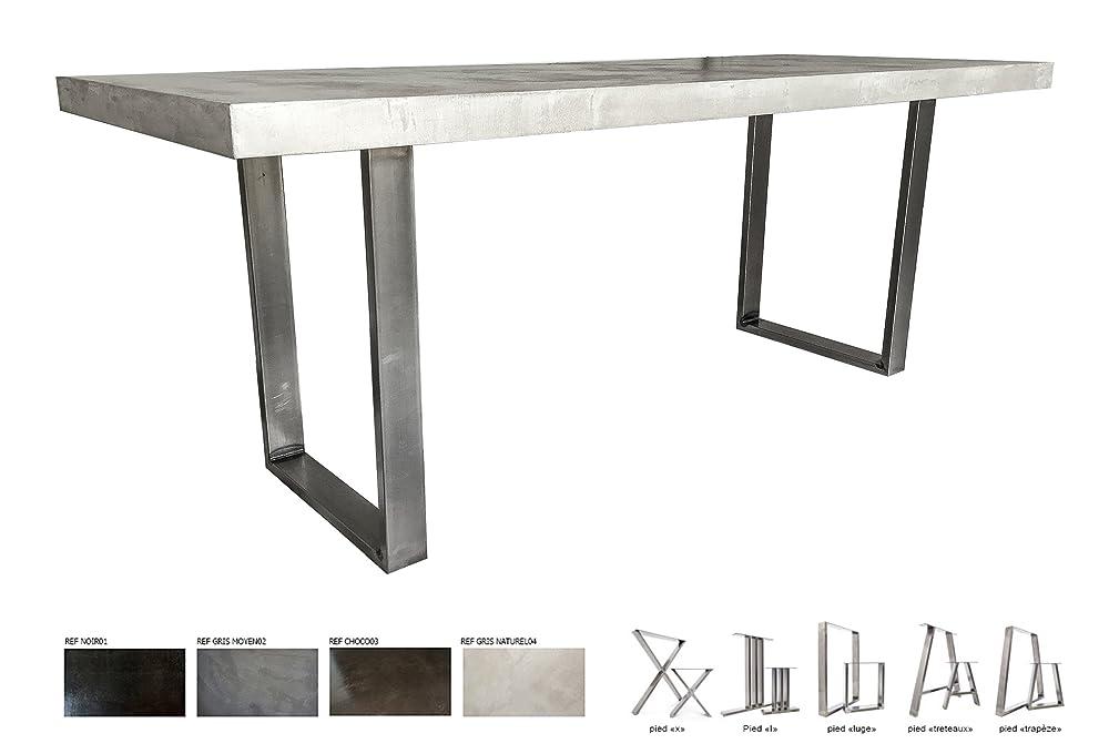 Table Beton Cire Ultra Leger Pieds Acier Amazon Fr Handmade