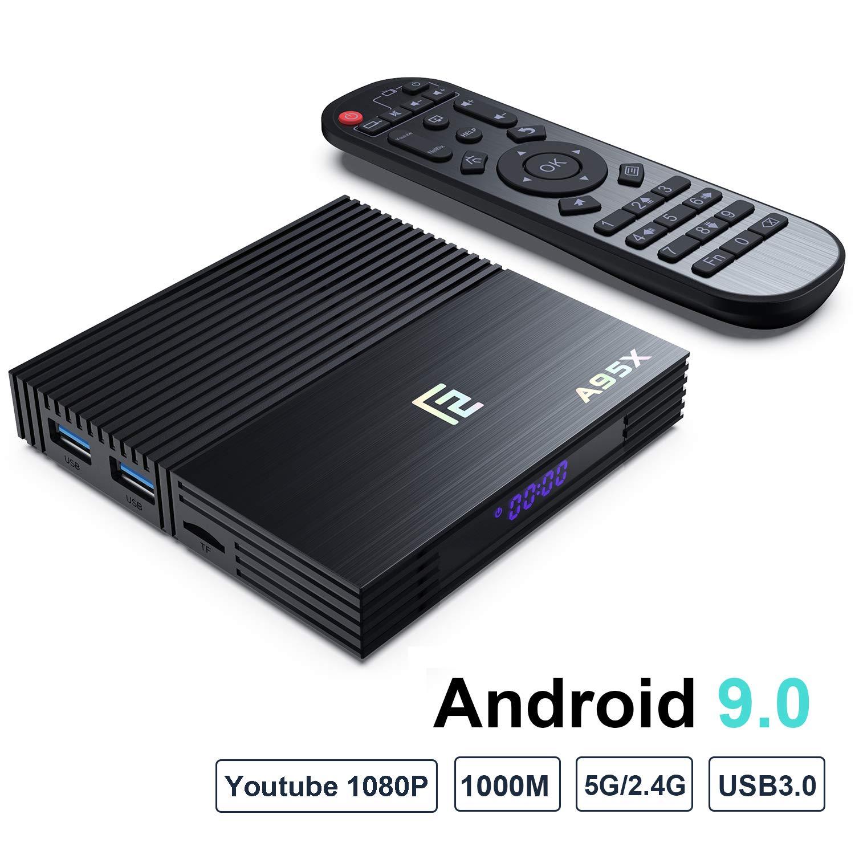 Android 9.0 TV Box,F2 Smart TV Box 4GB RAM 64GB ROM Amlogic S905X2 Quad Core 64bit,Support 2T2R Dual Band WiFi 5G 2.4G/HDR 3D 4K@75fps,You Tube 1080P/ USB 3.0 HDMI 2.1 BT 4.2 (F2(4+64))