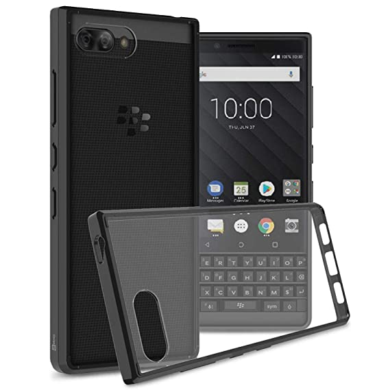 size 40 bf678 6ae3e CoverON [ClearGuard Series] For Blackberry KEY2 Case, Slim Fit Phone Cover  with Clear Hard Back and TPU Bumpers for Blackberry KEY2 - Clear with Black  ...