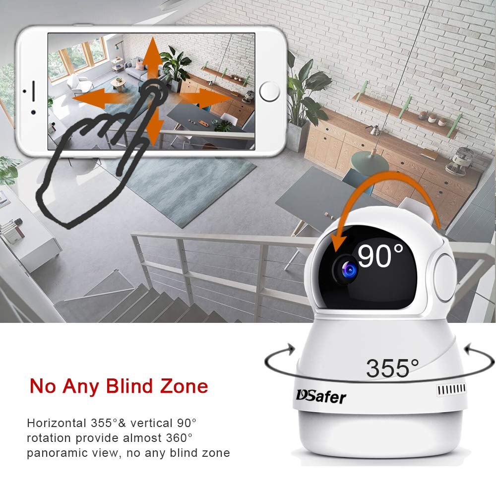 DSafer Wifi Camera 1080P Pan Tilt Zoom 360 Degree Wireless IP Camera with Motion Detection Night Vision 2 Way Audio Indoor Home Security Cloud Camera for Baby/Kids/Pets/Elder Monitor