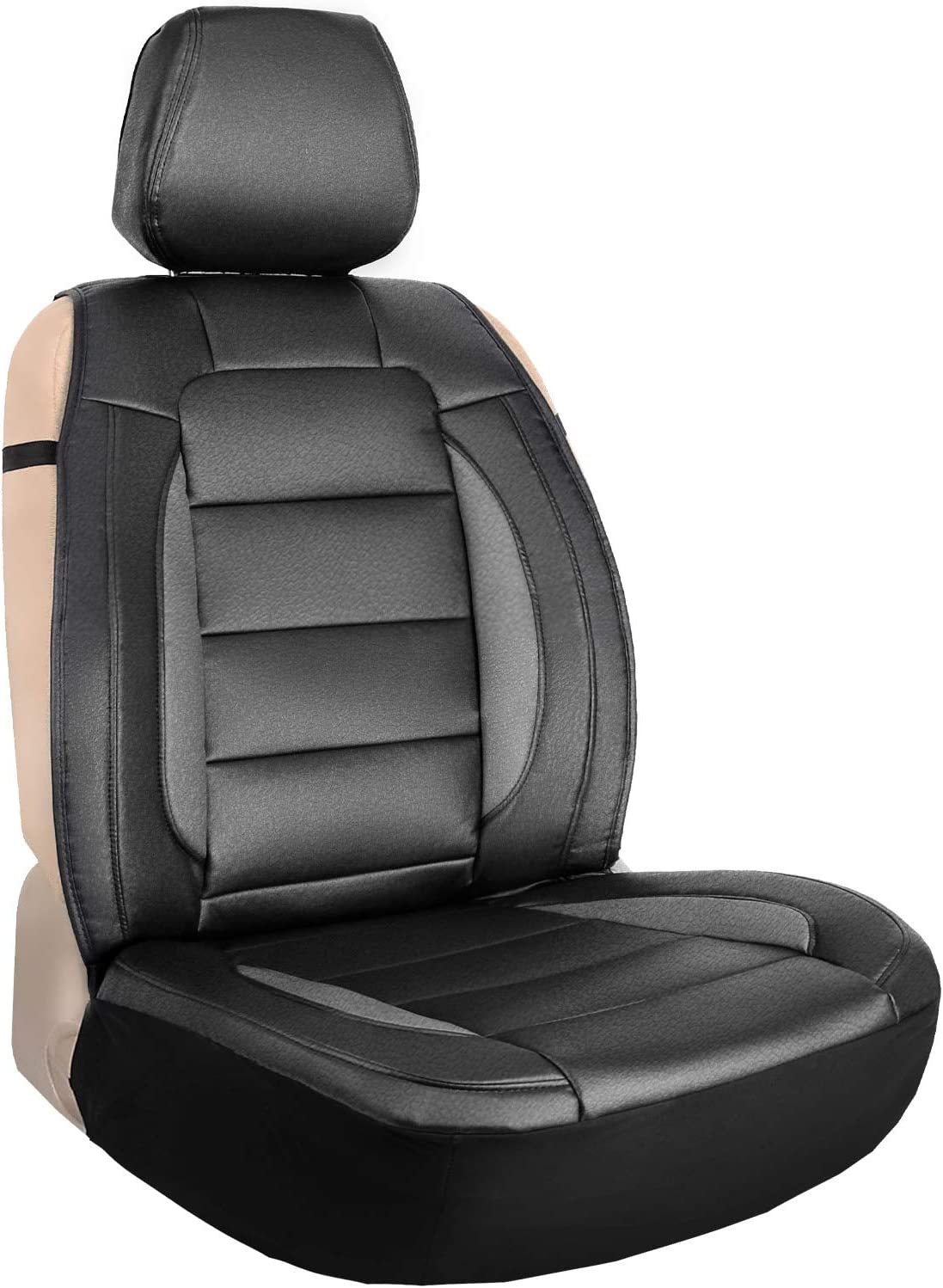 Amazon Com Leader Accessories Black Grey One Leather Seat Cover Universal Sideless Cushion For Car Truck Suv Front Seats Automotive