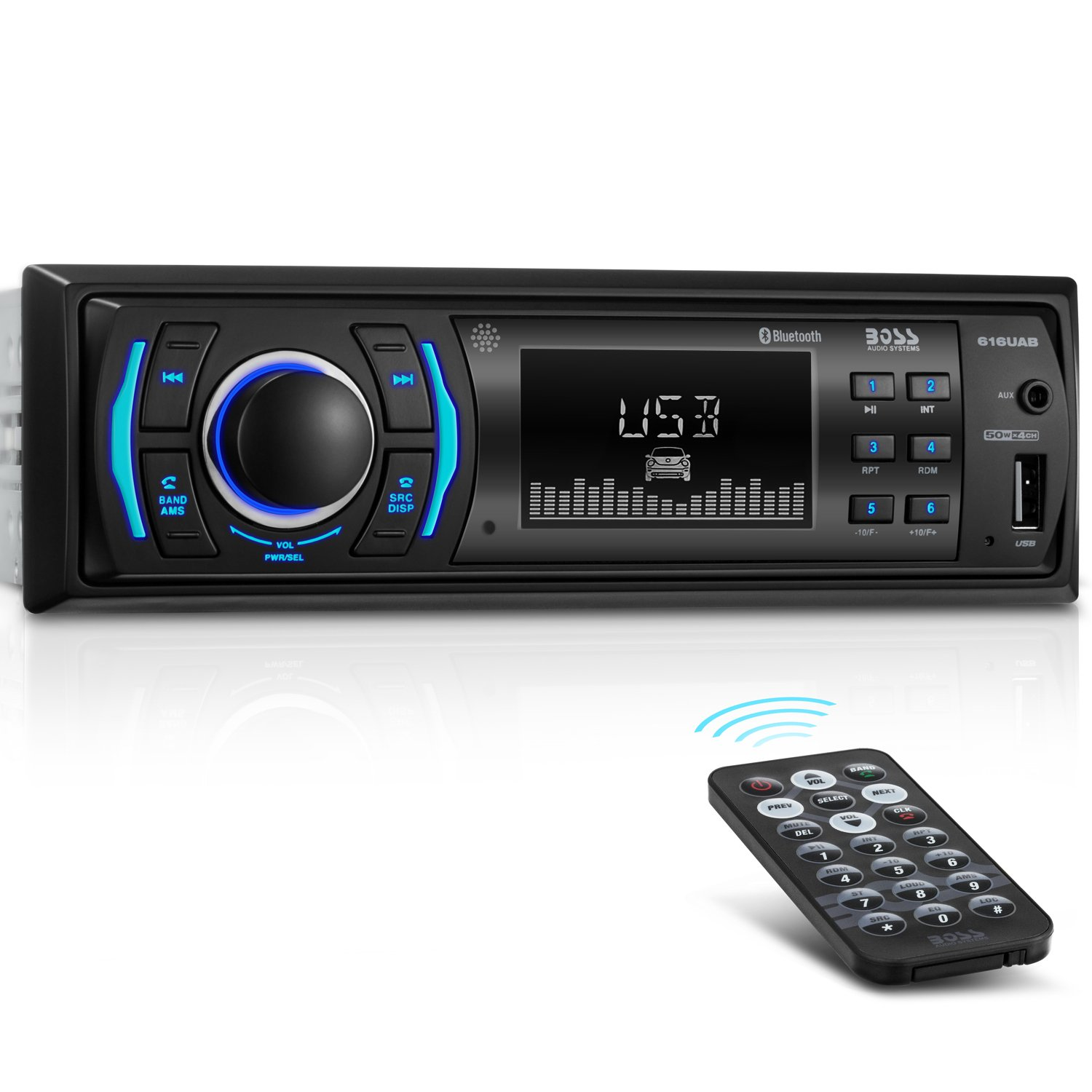 Amazon.com: BOSS Audio 616UAB Multimedia Car Stereo – Single Din LCD,  Bluetooth Audio and Calling, Built-in Microphone, MP3 Player, WMA, USB, ...