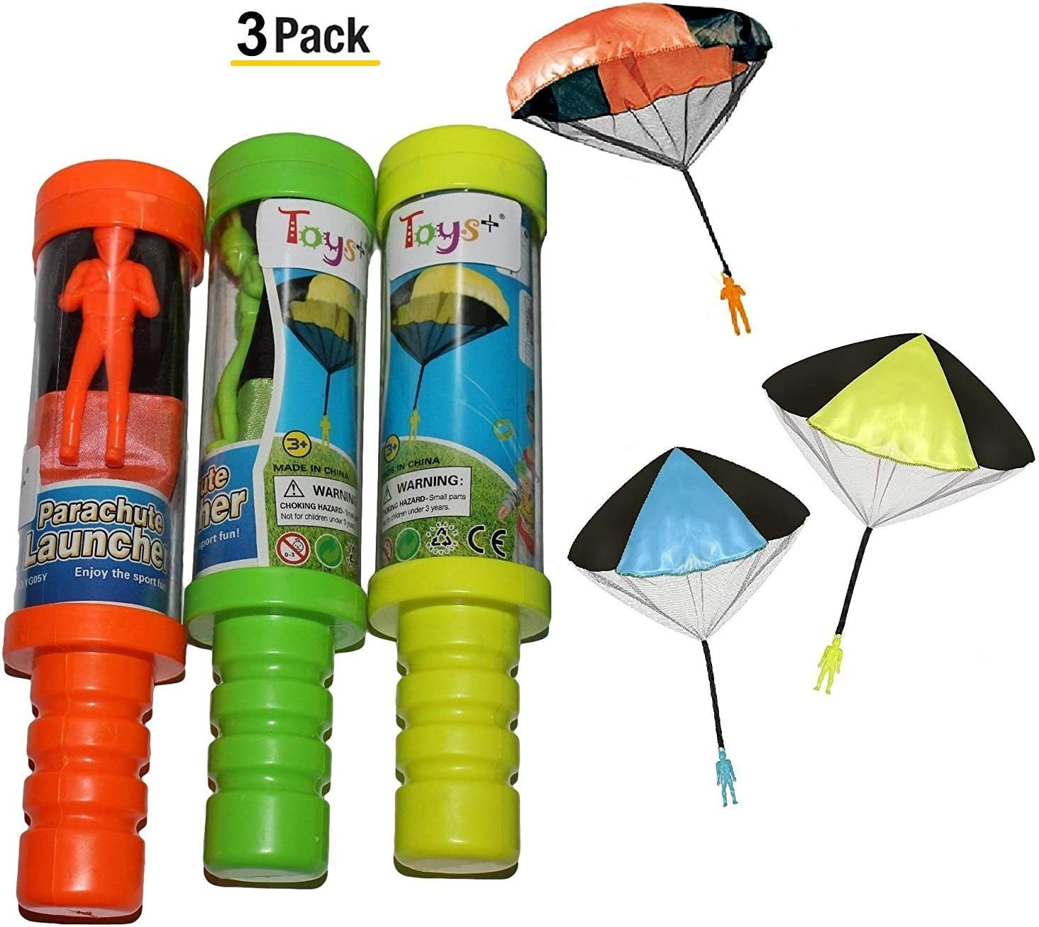 Toys+ Skydiver Parachute Men 3 Piece Set- Tangle Free with Launcher containers (Colors and Styles May Vary)