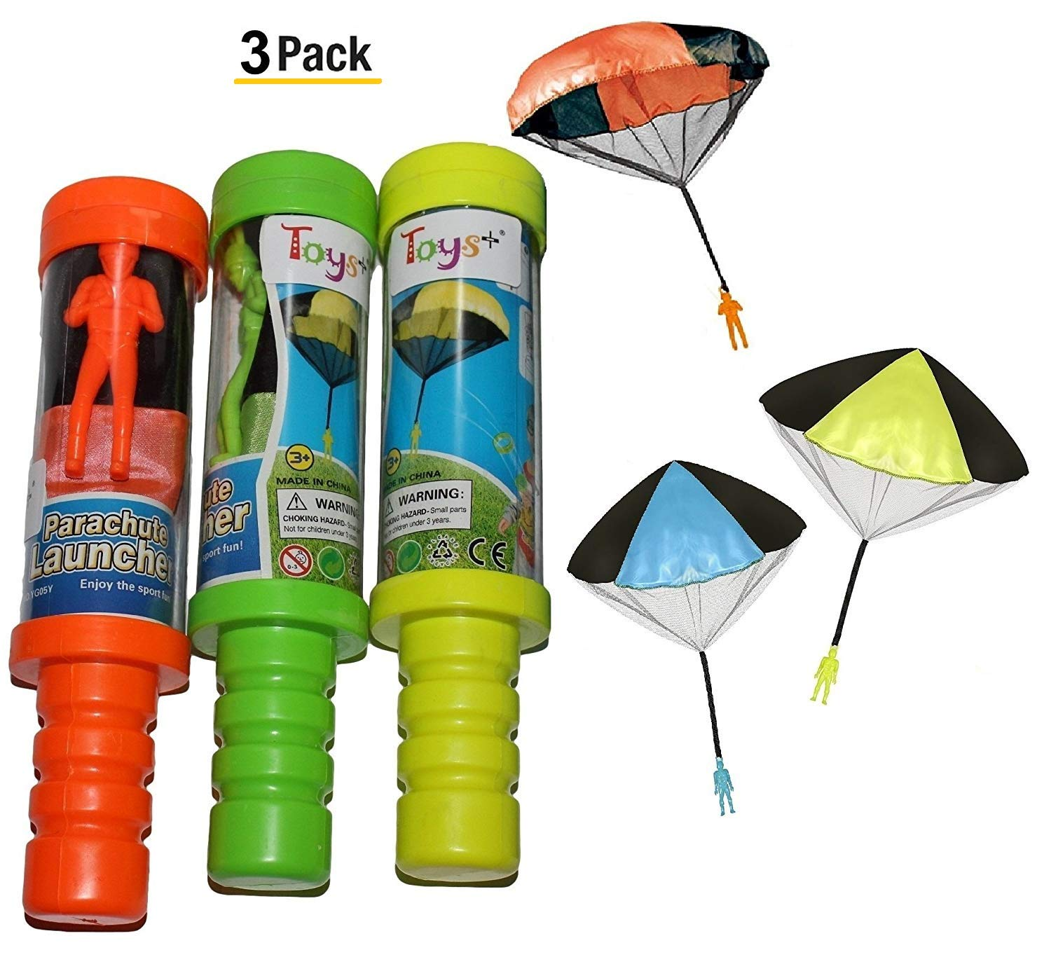 Skydiver Parachute Men 3 Piece Set Toys Tangle Free with Launcher containers Colors and Styles May Vary