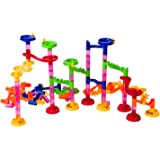 Super Tower Set Marble Run Game - An Educational Building Block Set with 105 Pieces Including Translucent Tubes with 30 Glass Marbles