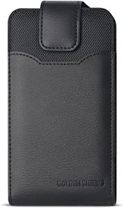 XXL Size iPhone X 5.8 INCH Vertical Leather Belt Clip Holster Pouch Case (Fits iPhone X with Otter Box Symmetry/Defender/LIFEPROOF/Extended Battery or Thick Case On)-Black