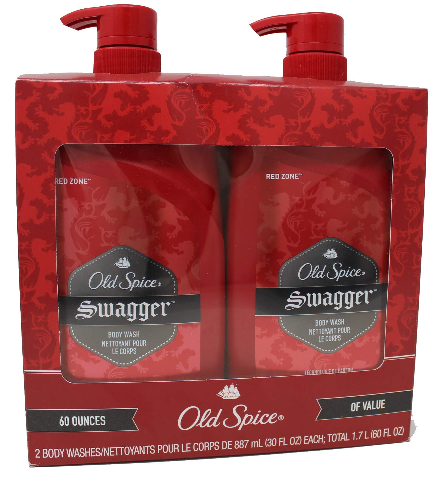 Old Spice Swagger Body Wash - Red Zone, Value Pack of 2-30 Ounce Bottles (Total 60 Ounce) by Old Spice