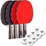 Ping Pong Paddle Set - Includes 4 Player Rackets, 8 Professional Table Tennis Balls, Portable Storage Case for Indoor-Outdoor