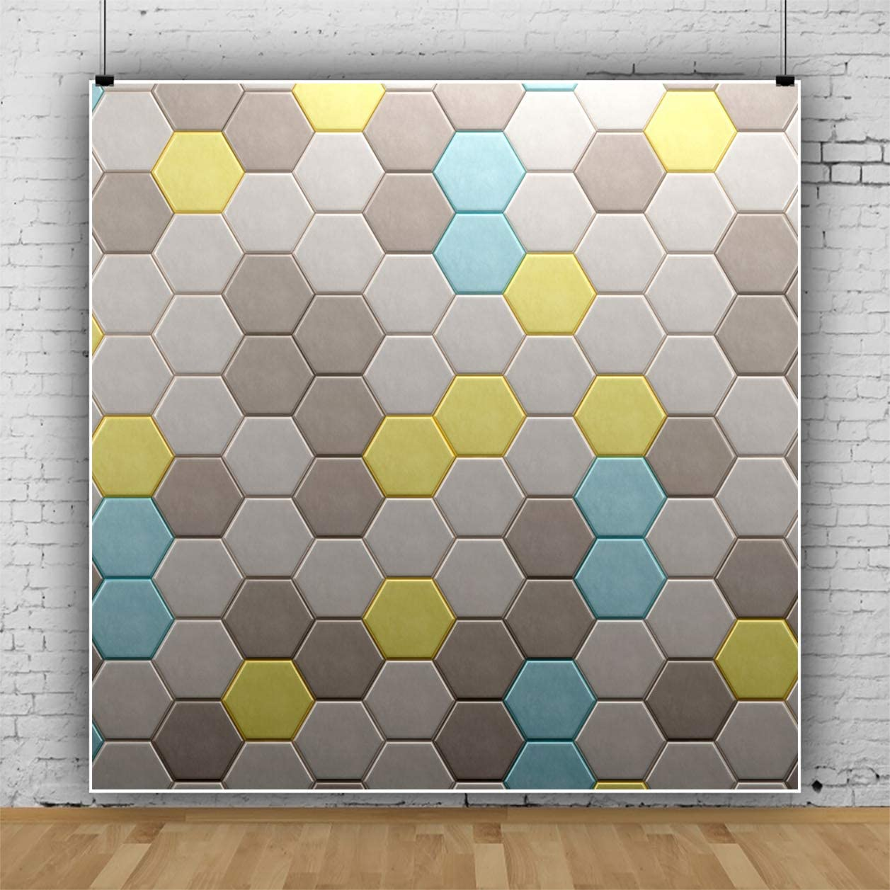 YEELE Fashion 3D Wall Backdrop 10x10ft Orthohexagnal Room Wall Geometric Photography Background Modern House and Home Design Kids Adults Artistic Portrait Photoshoot Studio Props Digital Wallpaper