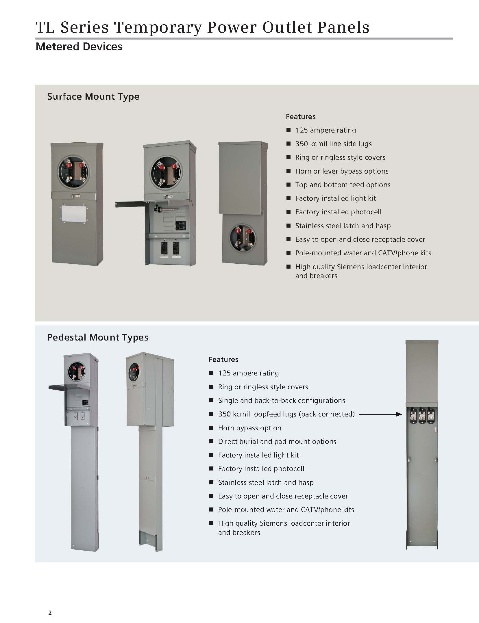 Siemens TL137RT Talon Temporary Power Outlet Panel with a 20, 30, and 50-Amp Receptacle Includes a Top Fed, Ringless Type, Meter Socket Provision by Siemens (Image #4)