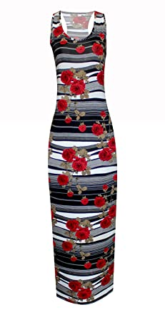 8739cb77773f6 Womens Floral Print Ladies Maxi Dresses Sleeveless Racer Back Muscle Vest  Dress (Black