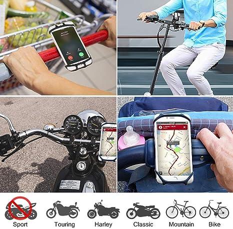 MOLIWEN Soporte M/óvil Bici Soporte Telefono Universal Manillar de Silicona para Bicicleta Moto Compatible con iPhone X 8 7 6 Plus//Samsung Galaxy S9 S8 Plus S7 y 4 a 6.5 Smartphones