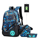 Ultra Light Water Resistant Boy School Backpack Set 3 Pieces School Bags Set for Teenage Boys Casual Daypack+Small shoulder bag+Pencil Case (3 PCS)