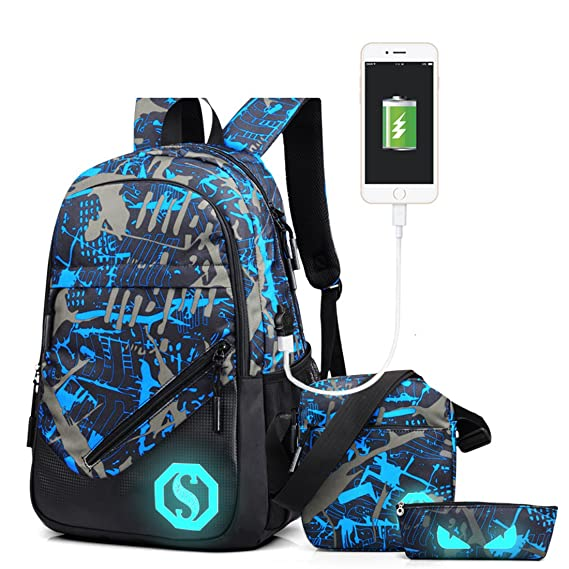 Amazon.com: Men Boys Cool Fashion Luminous School Backpack School Laptop Travel Bag with USB Charger Port and Pencil Case (Style 7): KYIS