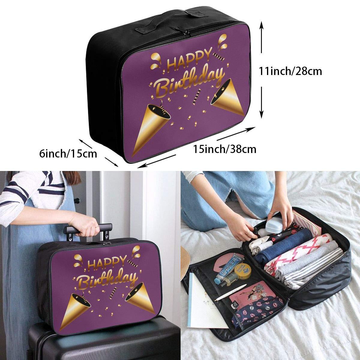 Travel Luggage Duffle Bag Lightweight Portable Handbag Happy Birthday Large Capacity Waterproof Foldable Storage Tote