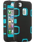 【ULAK】iPhone4S ケース シリコン iPhone 4 ケース 耐衝撃 TPU/PC 三層構造 360°保護 カバー シンプル iPhone 4s iPhone 4 専用 スマート カバー(ブルー/ブラック)