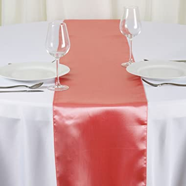 BalsaCircle 10 pcs 12 x 108 inch Rose Quartz Pink Satin Table Runners Wedding Table Top Party Supplies Reception Linens Decorations