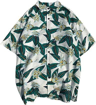 Men Summer Hawaiian Shirt Short Sleeve Thin Shirt Beach Blouses Tops